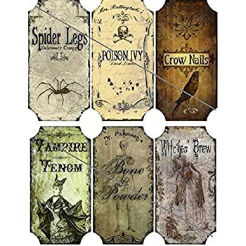 Vintage inspired Halloween 12 large bottle label stickers apothecary labels