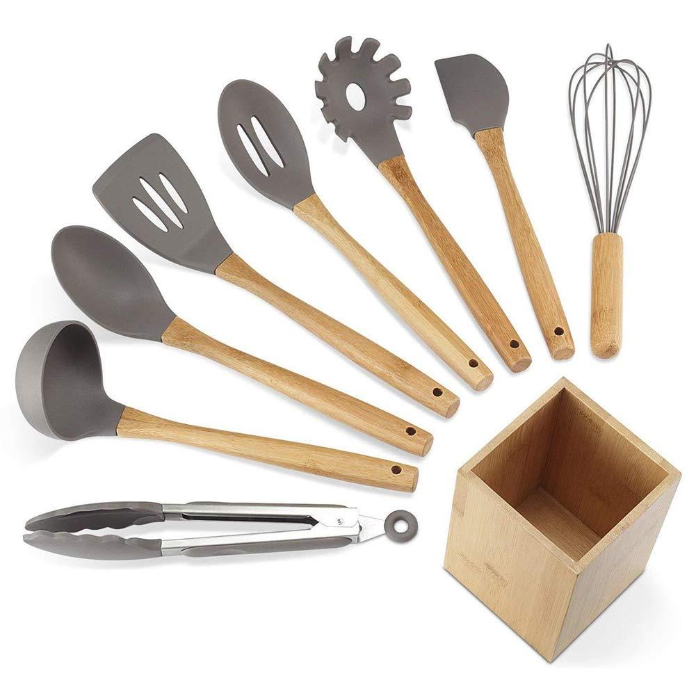 MARBER Juego de utensilios de cocina de silicona. Utensilios de cocina.  Juego de 9 30fe96bc6d3