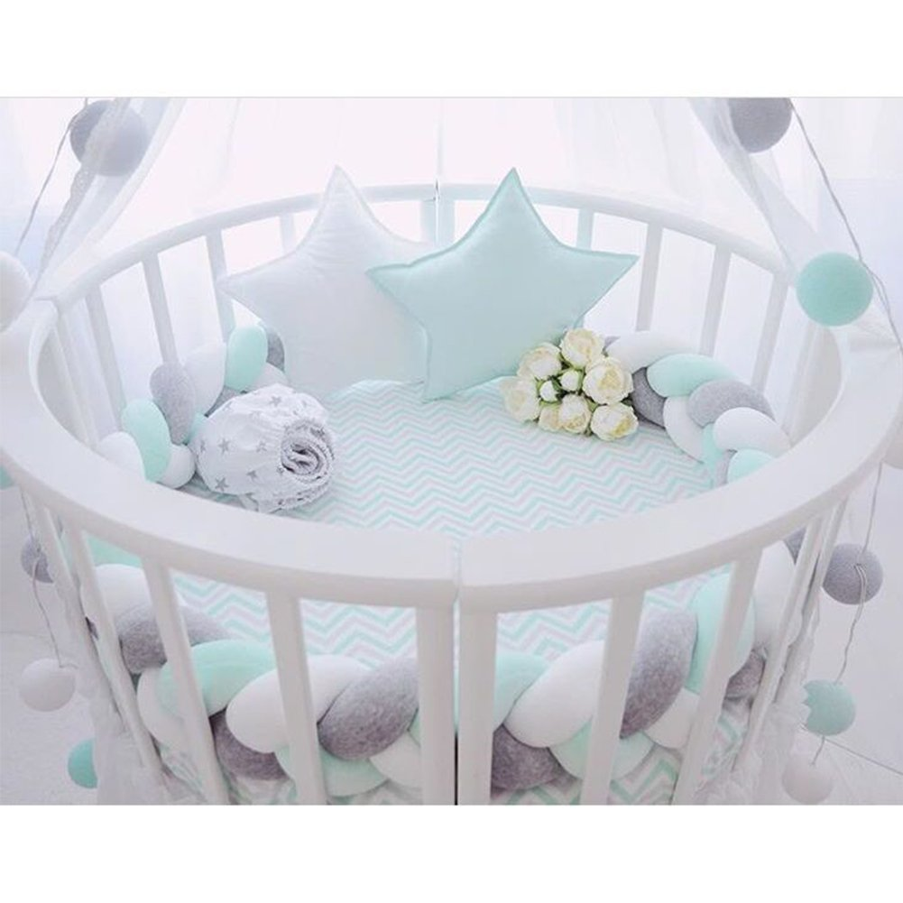 Infant Soft Pad Braided Crib Bumper Knot Pillow Cushion Cradle Decor for Baby Girl and Boy (White-Green-Grey, 79'')