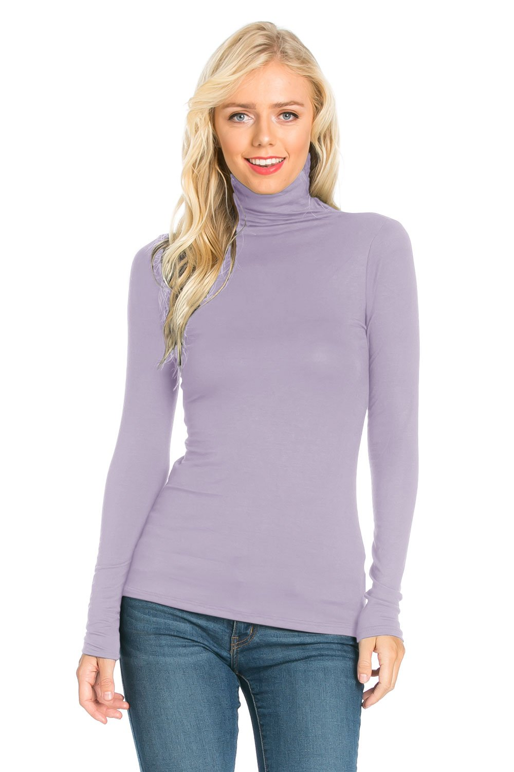 Fashion California Womens Turtleneck Slim Fit Pullover Jersey Thin Sweater T-Shirt Top (XX-Large, Lavender)