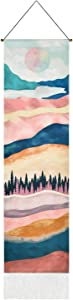 Mountain Tapestry, Forest Tree Tapestries, Sunset Tapestry, Nature Landscape Tapestry Wall Hanging for Room (12.8 x 51.2 inches)