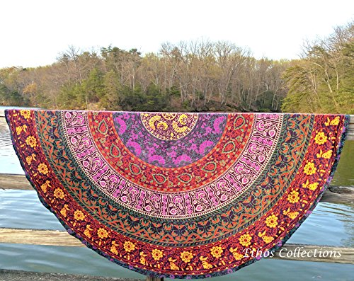 1 X Ethos Collections Indian Mandala Round Roundie Picnic...