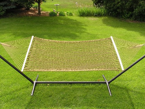 Two Person Extra Large Cotton Brown Rope Hammock + Iron Stand by Styled Shopping