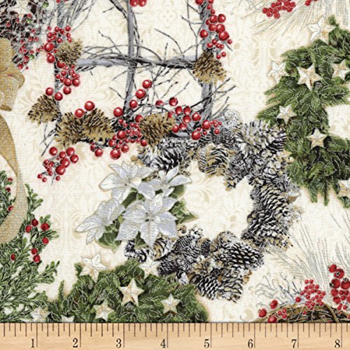 Timeless Treasures Metallic White Christmas Wreaths Cream Fabric by The Yard