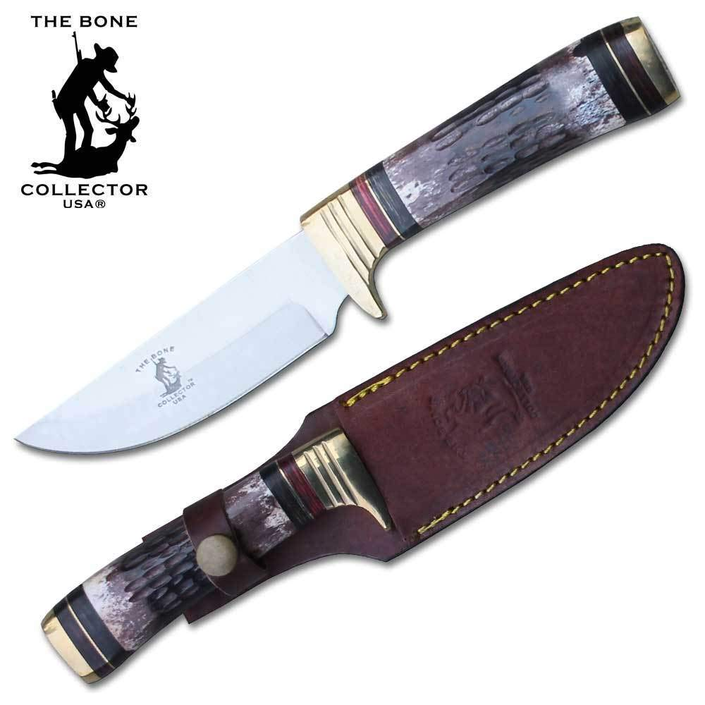 Bone Collector 10 Round Authentic Bone Handle Stainless Steel Polished Hunting Camping Knife with Leather Sheath