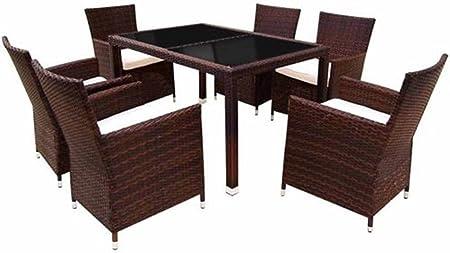 SSITG ratán muebles de jardín mesa de comedor y 6 sillas de mimbre al aire libre Patio: Amazon.es: Hogar
