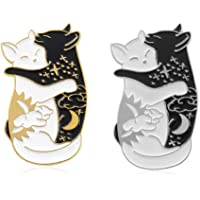 Charmart Hugging Cats Lapel Pin 2 Piece Set Black White Cat Enamel Brooch Pins Accessories Badges Gifts