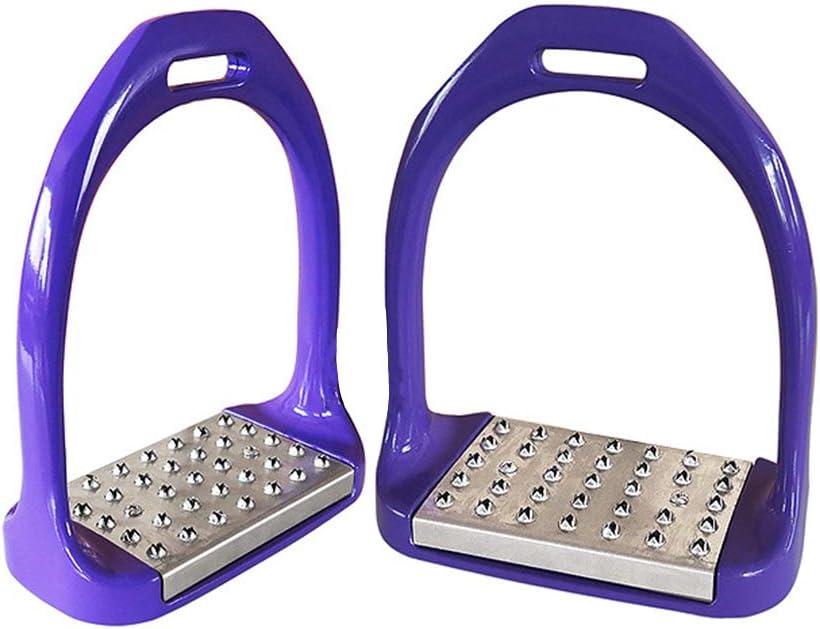 GZQ Estribos de Caballo para Silla de Montar, 2 Piezas de Estribo de Aluminio 3D, Seguridad Ligera (Morado)