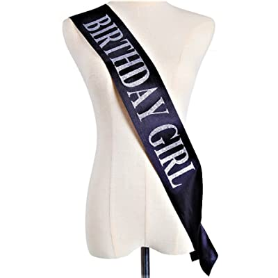"""BIRTHDAY SASH"" - ""Birthday Girl"" Sash For Women - Happy Birthday Sash For Partys- Sash With Silver Glitter Letters- Ideal for 18th, 21st, 30th-Birthday - ''Birthday Girl'' Sash by Gabriel's Market"