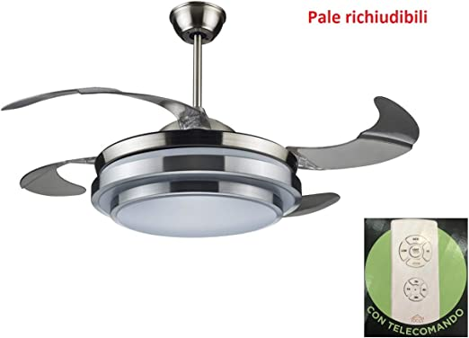 DCG VECRD47TL - Ventilador de techo de 4 aspas abatibles con luz y mando a distancia: Amazon.es: Hogar