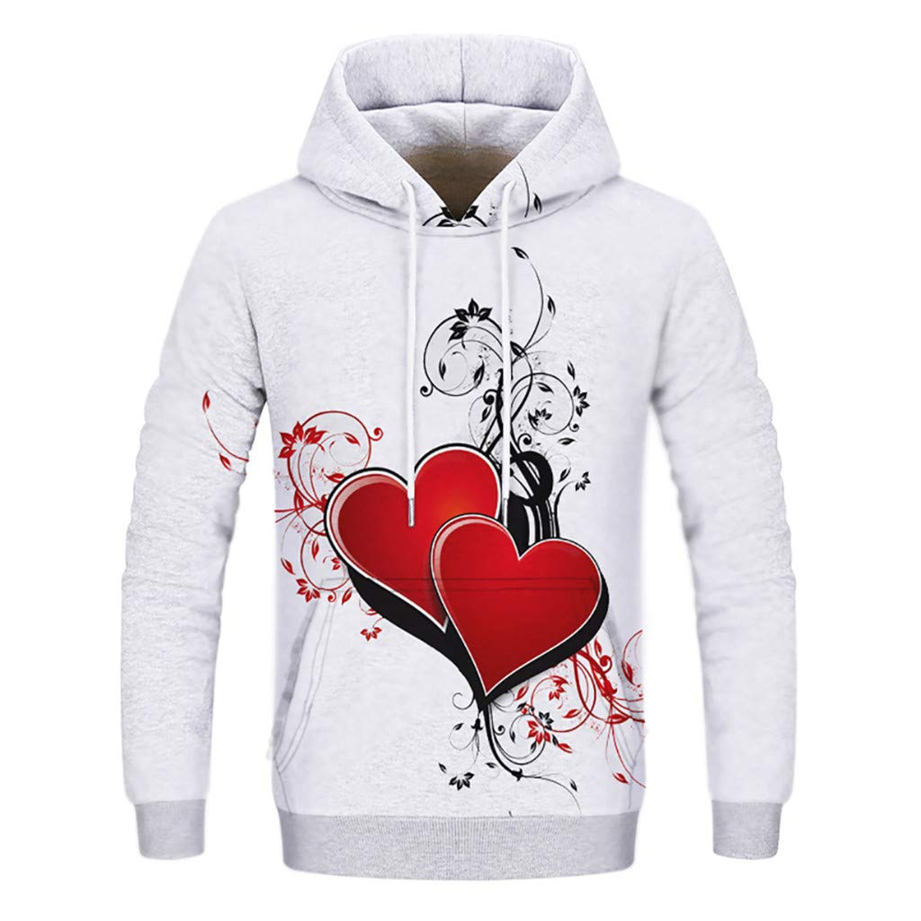 Star/_wuvi Unisex Novelty 3D Love Shape Printed Hoodie Drawstring Hooded Pullover Tops Sweatshirt Pocket,S~3XL