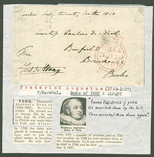 Prince Frederick Augustus (Duke Of York And Albany) (Great Britain) - Free Frank Signed 07/24/1810