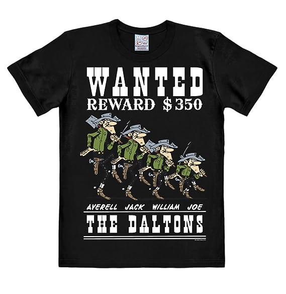 Logoshirt Lucky Luke - Los Dalton Camiseta Hombre - Daltons - Wanted - Negro - Diseño Original con Licencia: Amazon.es: Ropa y accesorios