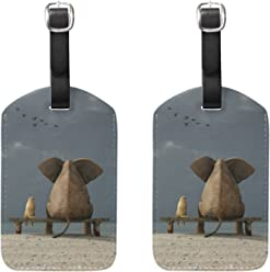 8643deac1d COOSUN Elephant And Dog Sit On Deserted Beach Luggage Tags Travel Labels  Tag Name Card Holder