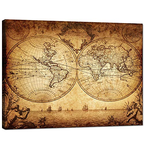 Sea Charm- Canvas Wall Art,New Antique Vintage Classic Style Canvas Map of The World,Globe Large Poster,Gallery Wrapped,Global Map,Home Office Decor Map Ready to Hang,-32