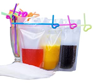 100 Pack Drink Pouches Bags with Straws - Translucent Hand-held Reclosable Zipper Stand-up Plastic Pouches Bags Drinking Bags - 9.1