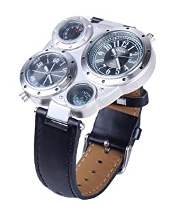 MENS OULM VOYAGER RETRO MULTI TIME ZONE COMPASS PILOT WATCH OU03