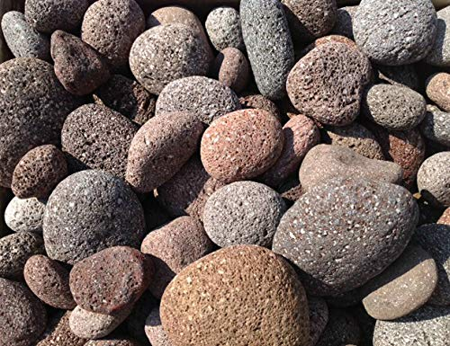 Rock Lava Fountain - MIXED RED LAVA MEXICAN BEACH PEBBLES - 1 to 3 Inch Stones - 35 Pounds - Natural Rocks for Fire Pits, Accents for Indoor and Outdoor Gardens, Ponds, Fountains and Crafts - Protect Plants, Block Weeds