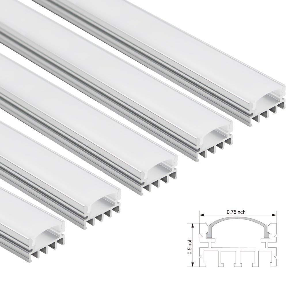TORCHSTAR 5 PACK Shallow Flush Mount/Recessed Mount Aluminum U Channel,  3 3ft Aluminum Extrusion Profile w/Oyster White Cover for Flex/Hard LED  Strip
