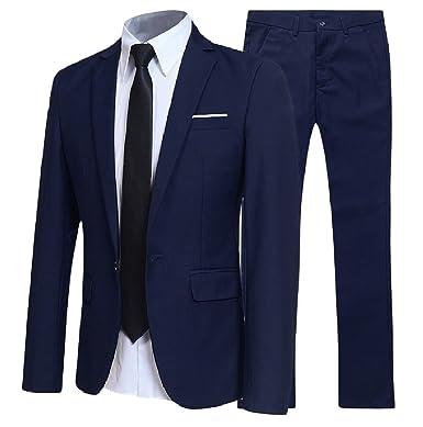 Tootlessly Men 2 Piece Set Pure Colour Business Formal Blazer Suit