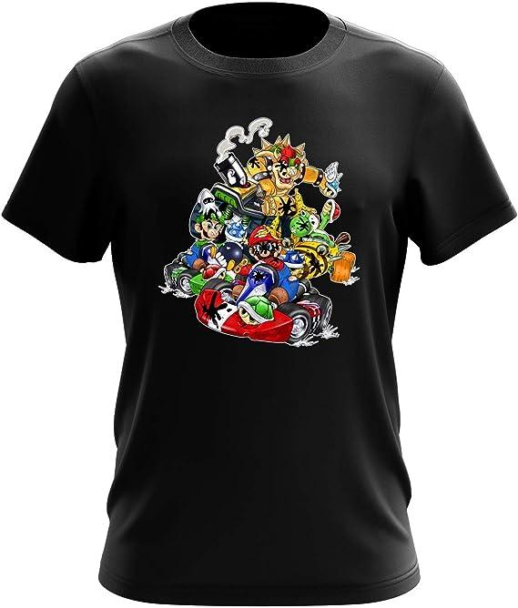 T Shirt Noir Mario Kart parodique Mario, Luigi, Yoshi et Bowser : Kart Fighter Racing (Parodie Mario Kart)