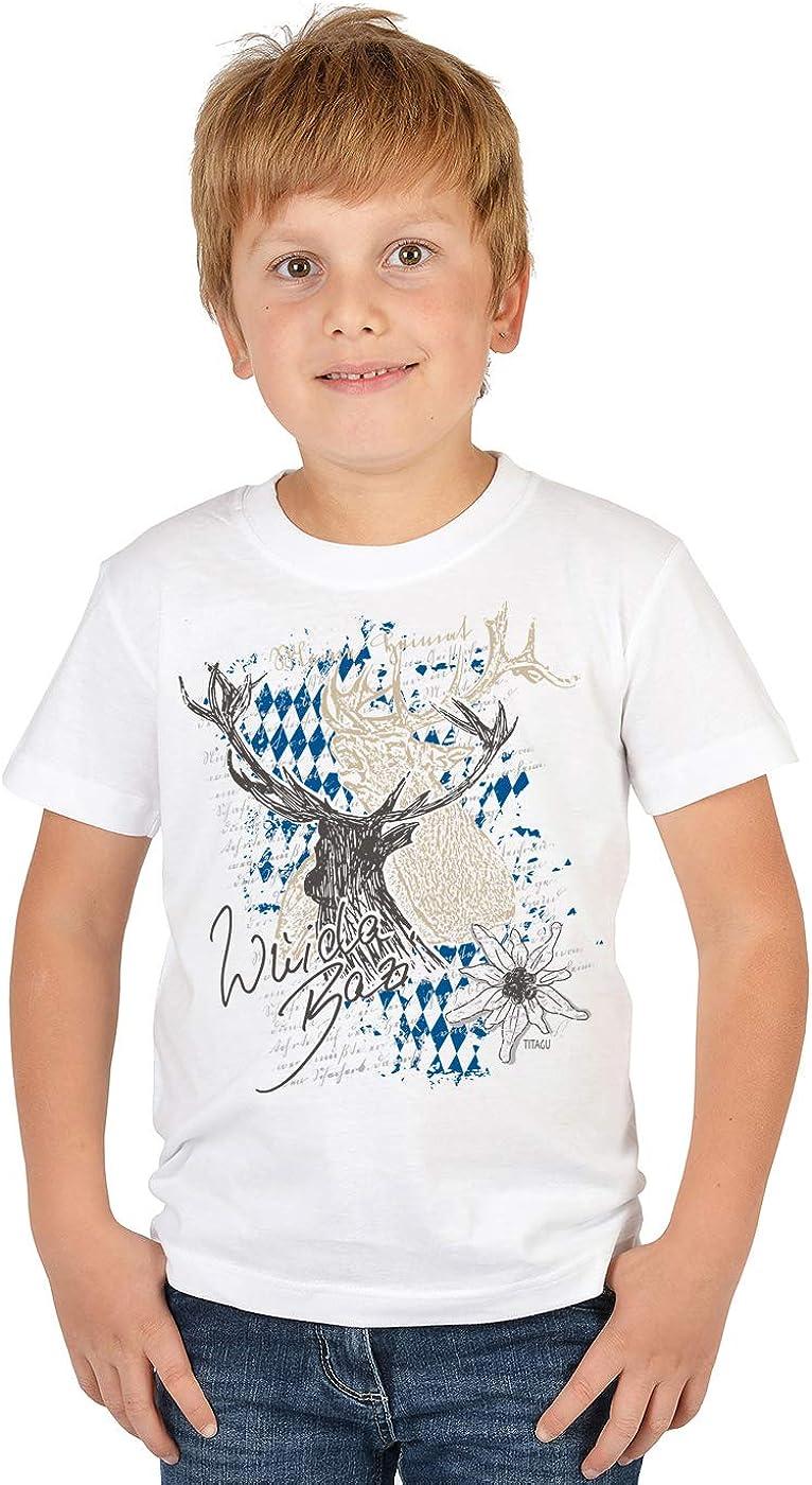 Wuida Bazi Kinder-Trachten-Shirt mit Hirsch-Motiv//bayerischer Spruch f/ür Jungen