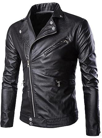 Wilton Marti Fashion Men Fashion Zipper Slim Fit Moto Faux Leather Jacket  Coat at Amazon Men s Clothing store  44d05e8420920