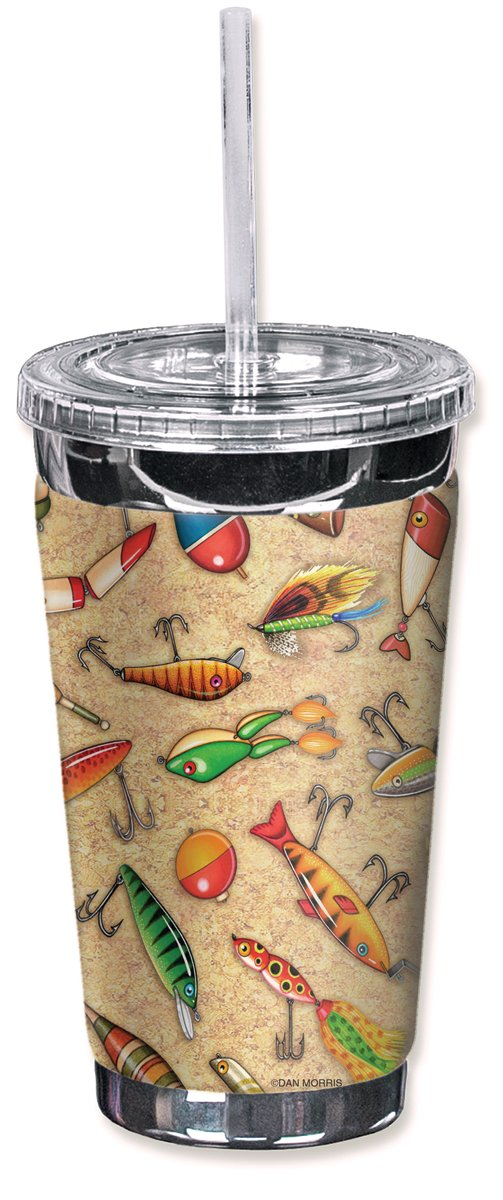 Mugzie brand 16-Ounce To Go Tumbler with Insulated Wetsuit Cover - Lures