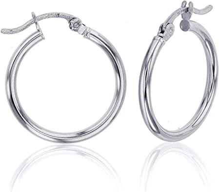 High Polished, 55mm 14k White Gold 2mm Thick Round Tube Hoop Earrings