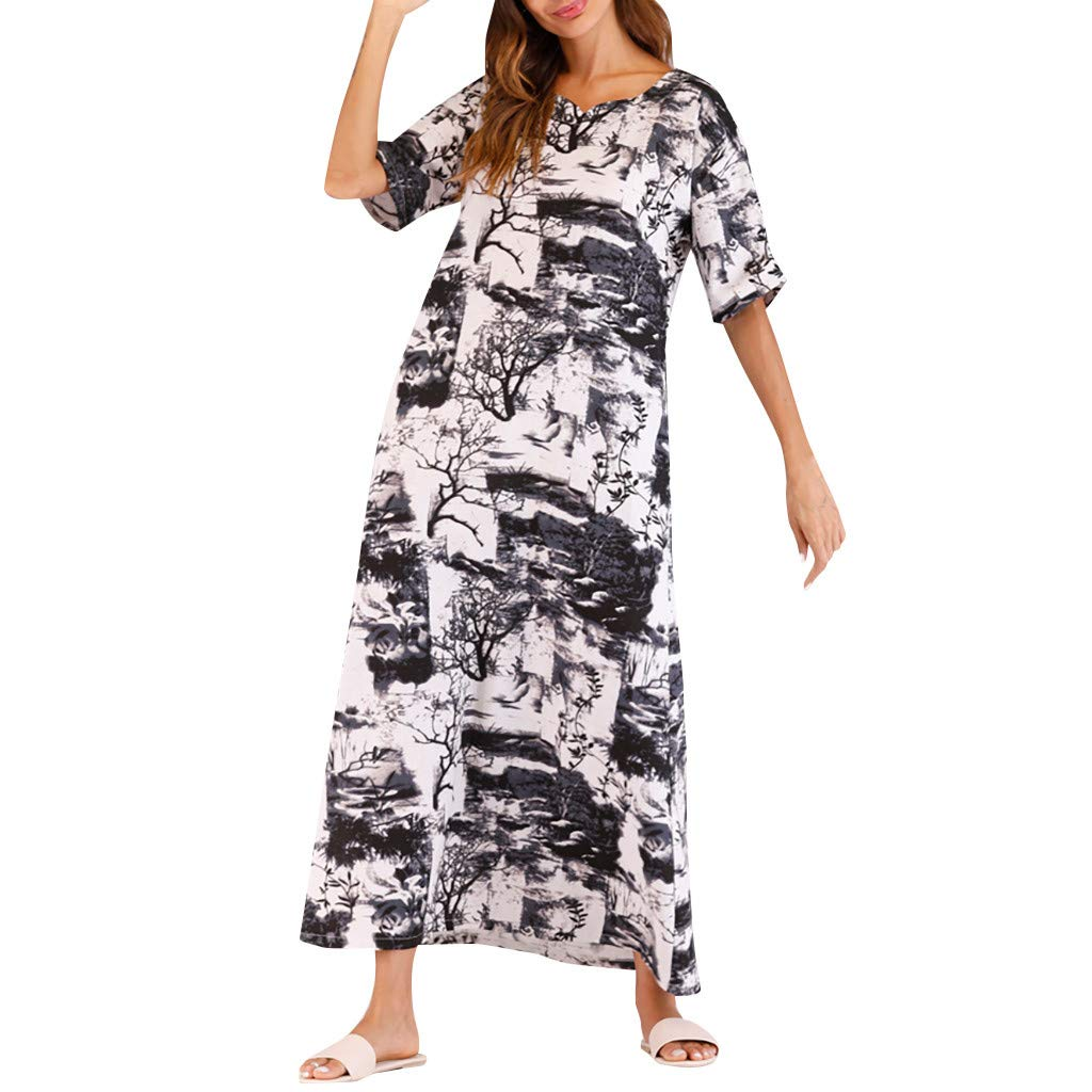 7af41379a57b Amazon.com: Oufenli Women Cotton Linen Dresses Ladies Summer Midi Dresses  Half Sleeve Printed A-Line Casual Long Dress for Beach/Party: Clothing