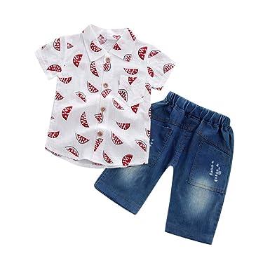 01b743524e VêTements Enfants ADESHOP Mode 2 PièCes Enfant BéBé GarçOns Gentleman  Chemises PastèQue Imprimer Shirt Revers à