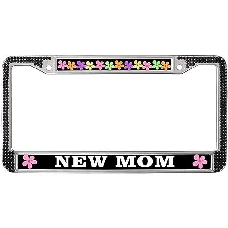 Amazon com: GND New MOM License Plate Frame Black Car Chrome License