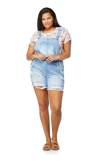 648cb7a4f662 Amazon.com  WallFlower Women s Juniors Plus Size Destructed Denim Shortalls  in Freya