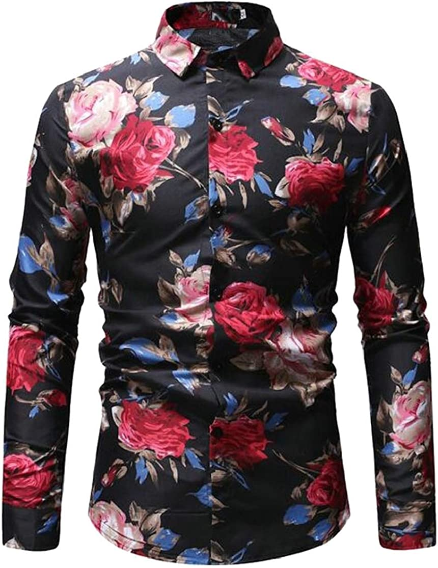 Joe Wenko Men Hip Hop Lapel Neck Curved Hem Print Button Down Shirts