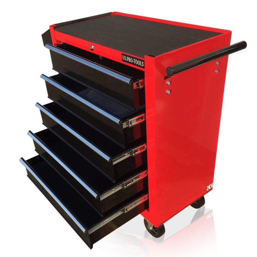 Carro de herramientas con ruedas US PRO Tools, mueble color rojo con cajones negros US.PRO-TOOLS
