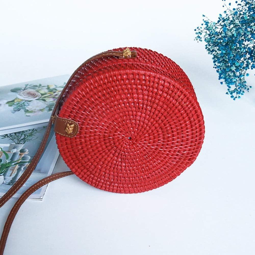 Cuero mujeres del hombro Tejido a mano Tejido de mimbre mensajero del bolso redondo rota bolsa de regalos correas Natural Chic bolso de la playa bolsa de mano (Especificaciones: 18 * 8 cm)