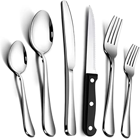 36 Piece Silverware Set With Steak Knife And Extra Teaspoons By Teivio Flatware Set Mirror Polished Dishwasher Safe Service For 6 Include Knife Fork Spoon Flatware Sets