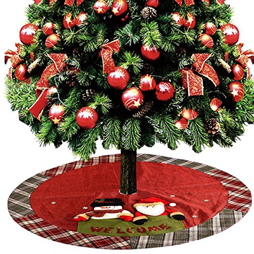 D-FantiX Christmas Decorations, 48-Inch Large Santa Christmas Tree Skirt Red with Plaid Trim