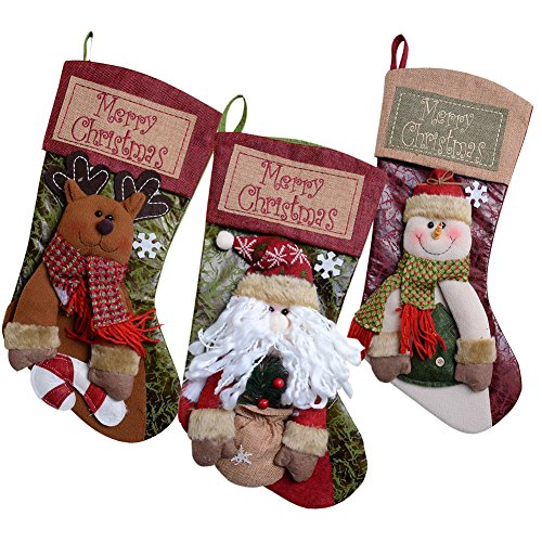 Country Snowman Stocking (Soraco 20 inch 3Pack Classic Christmas Stockings with Magnificent Detailed Embroidery Party Decoration)