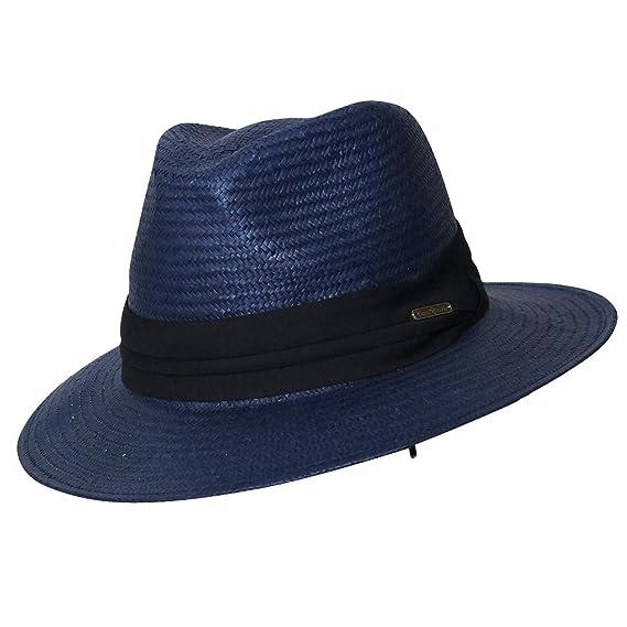 3c18289d8e9 Chapeau-tendance - Chapeau bleu style panama ruban noir - - Homme ...