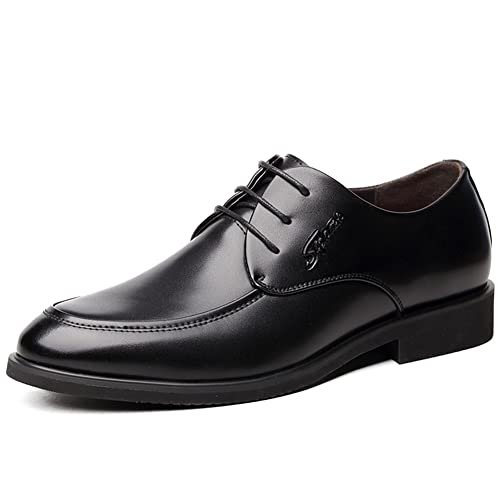 Shoes Men's Shoes Leather Spring Summer Fall Comfort Formal Shoes Lace-up For Casual Black (Color : Black Size : 42)