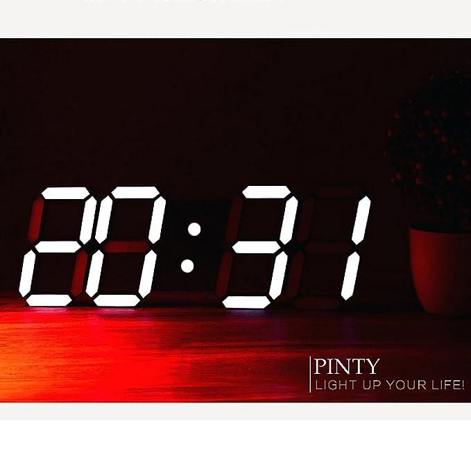 Reloj de pared digital LED grande de Pinty - Hora, fecha, temperatura, alarma, cronómetro de cuenta atrás y luz - Diseño moderno: Amazon.es: Hogar