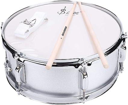 Caja de Tambor Profesional, Snare Drum de Acero Inoxidable Profesional Kit de Parche de PVC con Bolsa y Correa de Hombro Varilla Muda Tambor de Percusión: Amazon.es: Instrumentos musicales