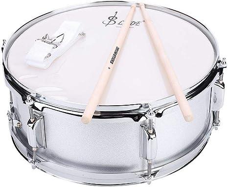 Snare Drum, Caja de Tambor de Acero Inoxidable Profesional Kit de Parche de PVC con Bolsa y Correa de Hombro Varilla Muda para principiante Tambor de Percusión: Amazon.es: Instrumentos musicales