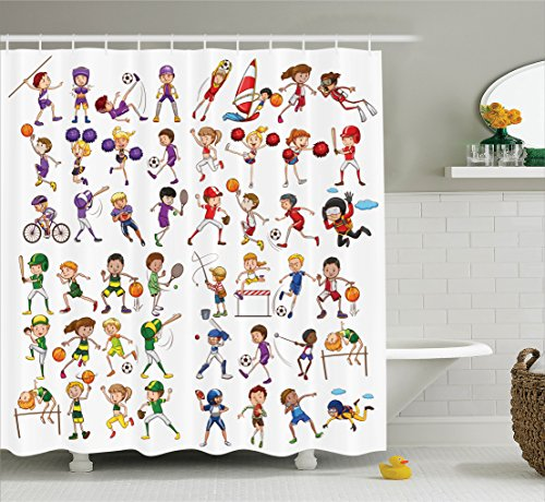 Ambesonne Sports Decor Collection, Kids Playing Various Sports Illustration Cheerleader Boys Girls Children Picture, Polyester Fabric Bathroom Shower Curtain, 75 Inches Long, Red Purple Orange for $<!--$34.95-->