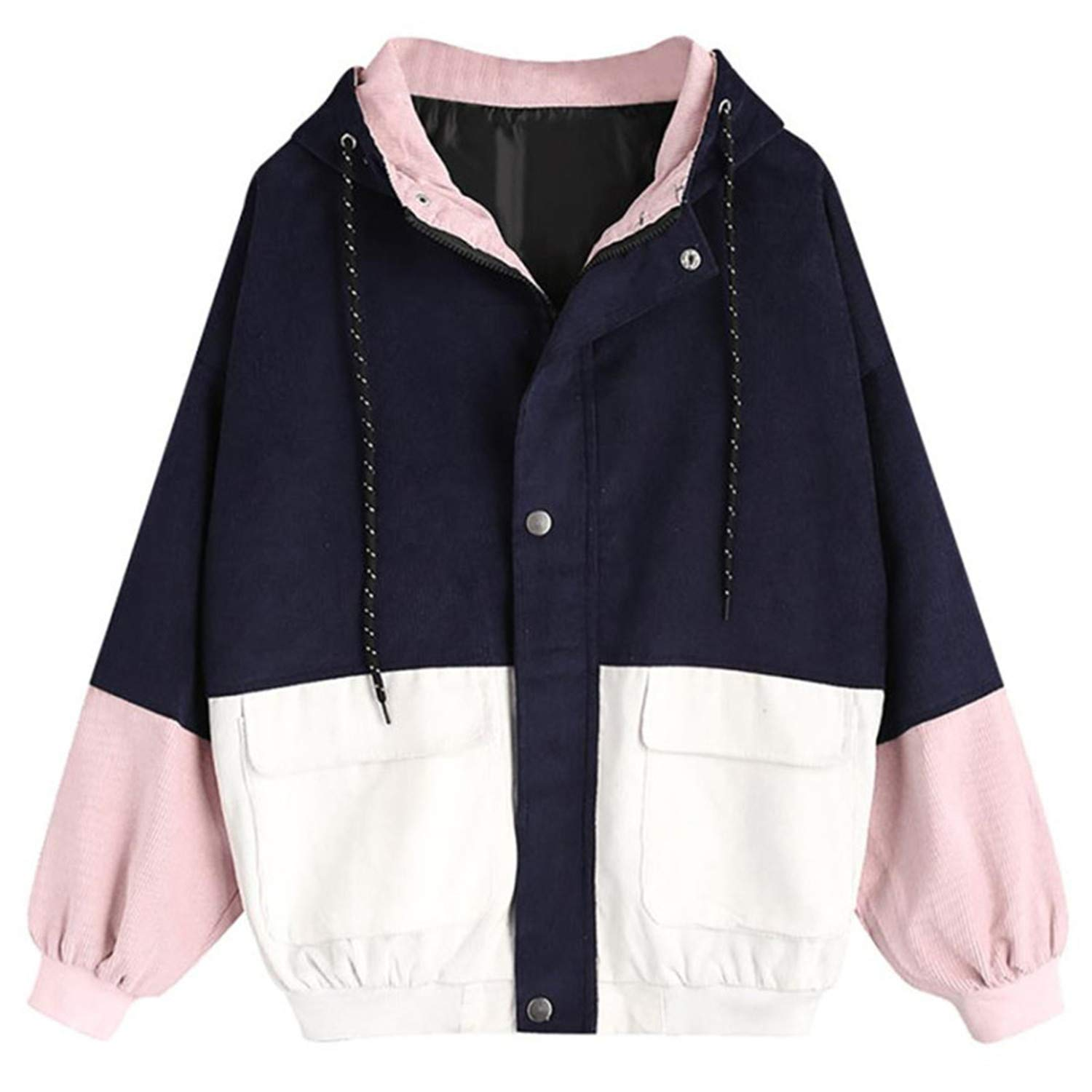 B Missrooney Hooded Two Tone Windbreaker Jacket Patchwork Jackets Women Corduroy Patchwork Oversize New Fall Casual Coats Outerwear C S