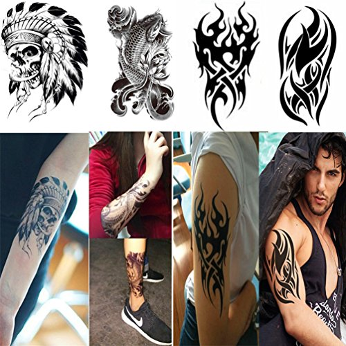 4 Sheets Fake Tattoos Water-transfer Temporary Tattoo Sticker Body Art Skull Tattoo Kit for Men/Women Body Arm Leg Back Chest 22x15cm by Candice's (Love Bite Vampire Costume)