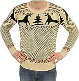 Ugly Adult Christmas Holiday Sweater BEIGE Reindeer (Adult Medium)