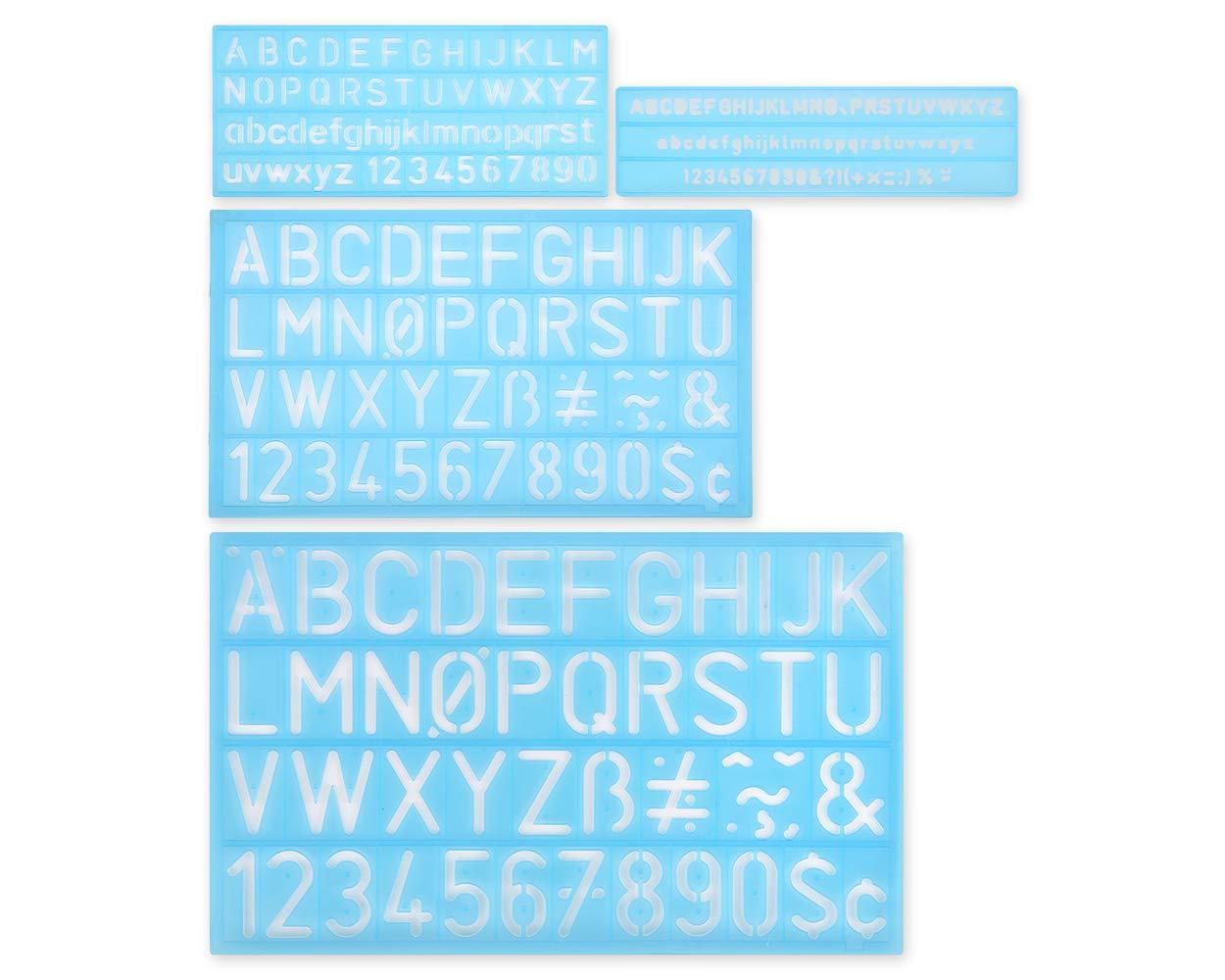 blu pittura SCSpecial stencil alfabeto set di 4 plastica lettera stencil assortiti taglie numero righello per apprendimento scrapbooking