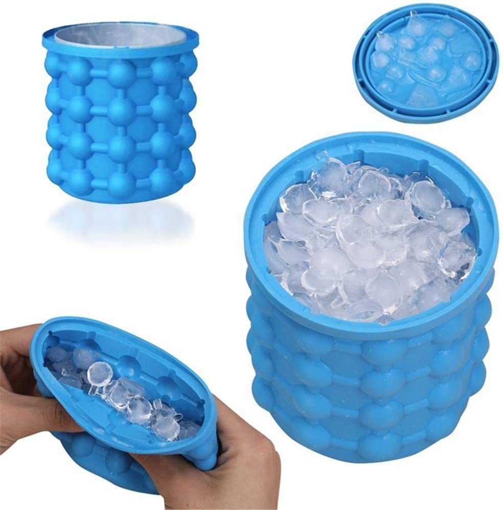 Ice Cube Mold Ice Trays, Large Silicone Ice Bucket with lid, (2 in 1) Space Saving Portable Maker(Blue)